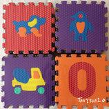 Мягкий детский массажный коврик-пазл 10 больших элементов - ассортимент