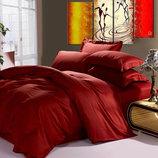 Постельное белье Сатин однотонное - Wine Red