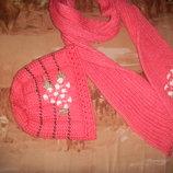 теплая вязанная шапка шарф комплект
