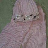 комплект розовый шерсть шапка шарф новый