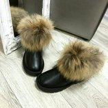 Новые короткие угги кожаные с мехом 36,37,38,39,40 Киев