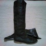 Мягчайшие высокие коричневые кожаные сапоги KicKers. Франция - Англия 37 р.
