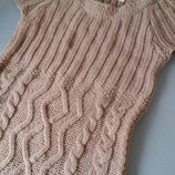 Вязаное платье кэмел с коротким рукавом в косы Zara S