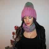 by koko4ka шапка шарф снуд комплект ручная вязка розовый мятный В Наличии