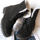 Супер зимние стильные женские сапоги ботинки Timberland теплые Тимберланд качественный замш шерсть