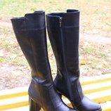 женские кожаные сапоги деми/зима код ИН Классические сапоги из натуральной черной кожи