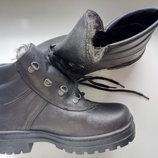 Ботинки кожаные утепленные искусственным мехом клеепрошивные