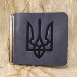 Кожаный зажим для денег с Гербом Украины 6 цветов
