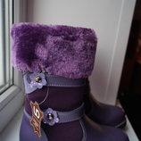 Сапоги зимние кожаные для девочки, фиолетовые, новые р. 27,28,29