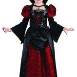 Карнавальный костюм Вампирша , S/M/L 110-140см , платье/воротник