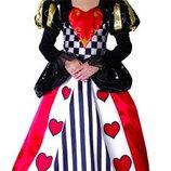 Карнавальный костюм Королева сердец , S/M/L 110-140см , платье/воротник/тиара