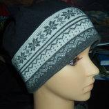 Теплая фирменная шапка,флис шерсть,р-р универсальный 55-59 см
