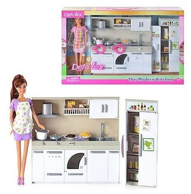 Кукла с кухней DEFA 6085 2 вида, свет, звук