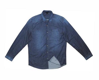 Мужская рубашка джинсовая синяя в полоску Gap L