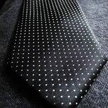 Мужской галстук черный в белый крап Jacques Estier London Paris