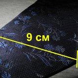 Мужской галстук 70% Шелк 30% Шерсть синий в цветочек Spain Испания