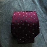 Мужской галстук 100% Шелк бардовый в узорчик Intercity England