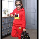 Костюмы тёплые два цвета красный и серый для девочек в наличии
