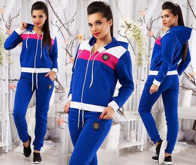 14c39c15d459 Женский тёплый спортивный костюм на байке 665 Трёхцвет Лого в расцветках.