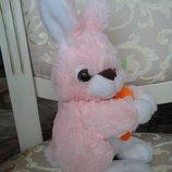 Чудный пасхальный Кролик с морковкой мягкая игрушка Пасха Великдень подарок
