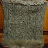 Теплый шарф - снуд с мехом.