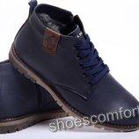 Классические зимние ботинки из натуральной кожи Polo model B-15 синие