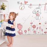 Милая наклейка на стену для детской «Зайка и котя», 130 100 см