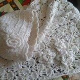 Нежный белоснежный теплый шарф и шапка