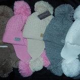 Классные шапки-ушанки с бубонами,зима,на флисе,50-54 см