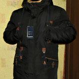 Куртка парка зимняя прямая черная , синяя