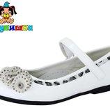 Туфли детские, для девочки белые 31-36р. Шалунишка 9213
