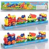 Веселый паровозик ездит вагончики прицепные, железная дорога, поезд, паровоз