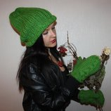 by koko4ka вязаный набор комплект шапка варежки ручная работа в наличии и под заказ