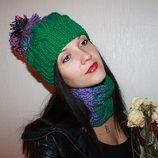 by koko4ka шапка шарф снуд комплект зеленый фиолетовый градиент ручная вязка В Наличии