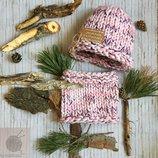 Компелкт шапка снуд ручной вязки стильный теплый толстая пряжа нить
