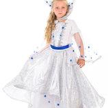 Прокат костюм Снігової королеви 125-146 см, снежной королевы Зима Сніжинки снігова королева- Позняки