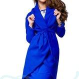 Пальто с поясом, синее Gepur