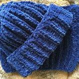Шапка и снуд хомут вязаные ручная работа синий велюр новый набор зима