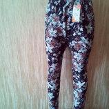 Зимние Лосины, брюки на меху цветочный принт р. 50-56