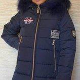 Зимняя подростковая куртка-парка на девочку