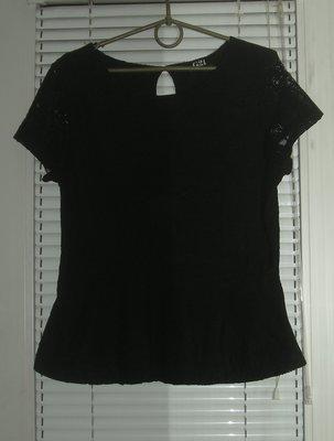 кофточка с баской черный гипюр 12 размер