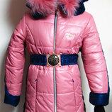 Зимнее пальто, пуховик, куртка Angeli.R на синтепоне, отделка писец, кролик, р.128