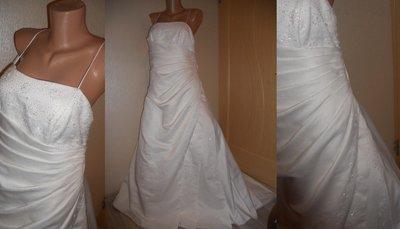Платье свадебное с шлейфом 10-12 р.