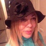 Шляпа фетр Италия шерсть натур. Новая. Чёрная шляпка с цветком. Шапка