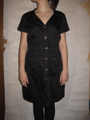 10-12 р-р, чёрное платье х.б. в стиле сафари