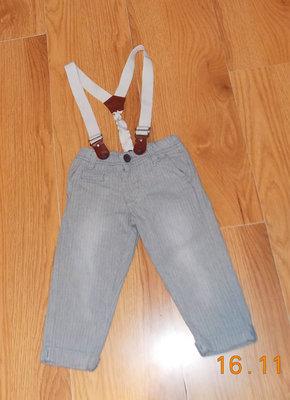 Стильные фирменные брюки с подтяжками для мальчика 12-18 месяцев, 86 см