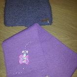 Зимняя теплая шапочка с ушками шарф в подарок