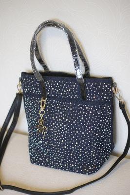 Женская сумка Bonilarti , натуральная кожа лак и джинс, в наличии