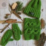 by koko4ka вязаный набор комплект шапка варежки снуд ручная работа в наличии и под заказ