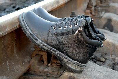 Зимние мужские ботинки зимові чоловічі чоботи шкіра блискавка